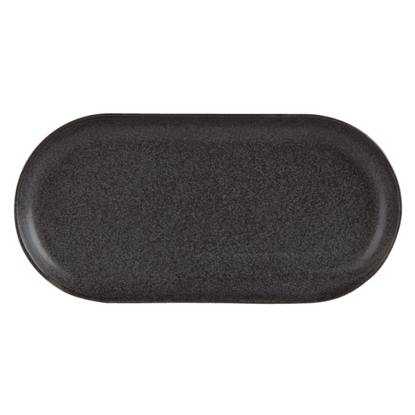 12.75 inch Black Oval Plate